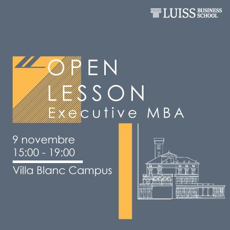 Open Lesson Executive MBA 9 Novembre 2018