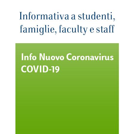 Informativa nuovoCoronavirus(Covid-19) a studenti, famiglie, faculty e staff